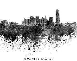 aquarela, cidade, preto oklahoma, skyline