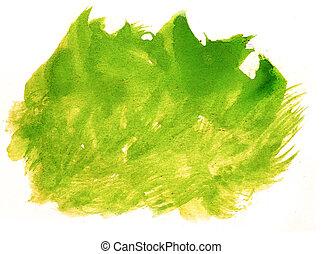 aquarela, cor, abstratos, watercolour, água, pintura, apoplexia, respingo, verde, escova, fundo, tinta, amarela