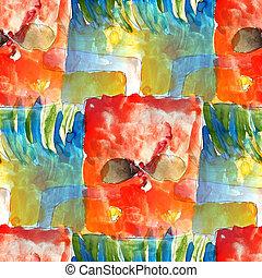 aquarela, cor arte, abstratos, seamless, amarela, água, fundo, vermelho, cotonetes