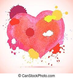 aquarela, cor-de-rosa, vetorial, coração