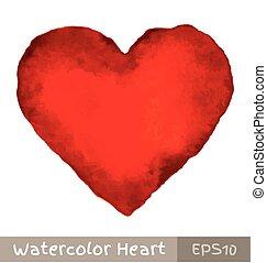 aquarela, coração, vermelho