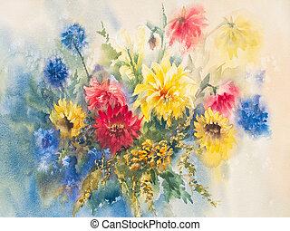 aquarela, dahlias, coloridos