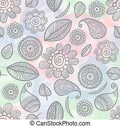 aquarela, doodles, flor, seamless, padrão