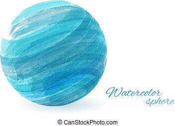 aquarela, esfera, conceitual, -, fundo