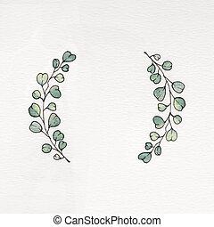 aquarela, eucalipto, folhas, grinalda