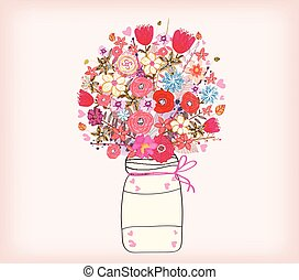 aquarela, flor, quadro, grupo