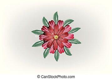 aquarela, flor, vermelho, vetorial