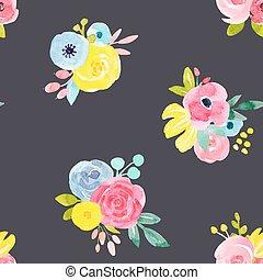 aquarela, floral, abstratos, vetorial, padrão