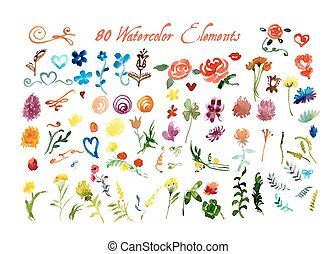 aquarela, floral, jogo, elementos