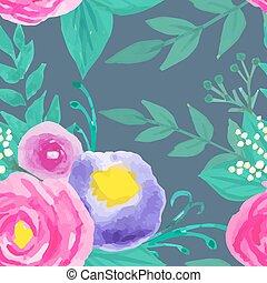 aquarela, floral, seamless, padrão
