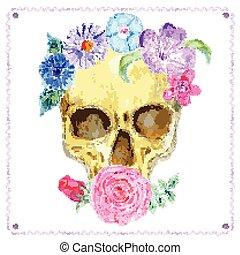 aquarela, flores, crânio humano