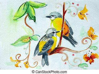 aquarela, flores, pássaros, desenho
