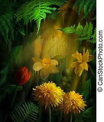 aquarela, flores, quadro