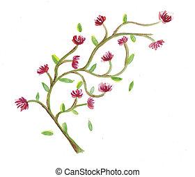 aquarela, flores, ramo