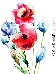 aquarela, flores selvagens, ilustração