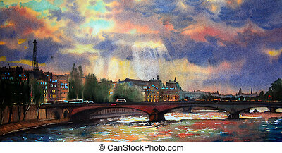 aquarela, france., quadro, paris