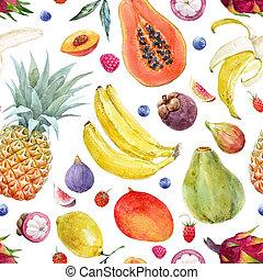 aquarela, frutas exóticas, padrão