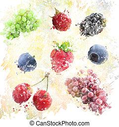 aquarela, fundo, frutas