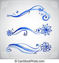 aquarela, geada, ornamento, inverno