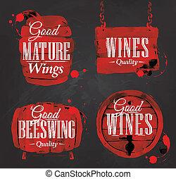 aquarela, giz, barril, vinho