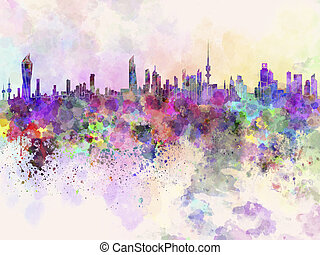 aquarela, horizonte cidade, fundo, kuwait