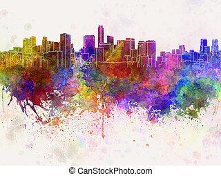 aquarela, horizonte cidade, fundo, méxico