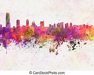 aquarela, horizonte cidade, jersey, fundo