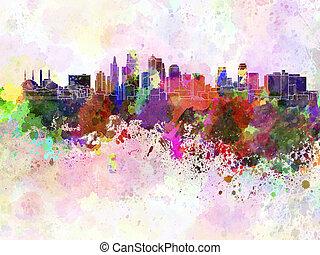 aquarela, horizonte cidade, kansas, fundo