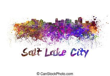 aquarela, horizonte cidade, lago salgado