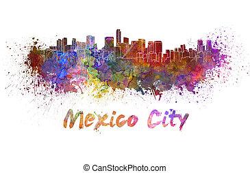 aquarela, horizonte cidade, méxico