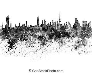 aquarela, horizonte cidade, pretas, kuwait