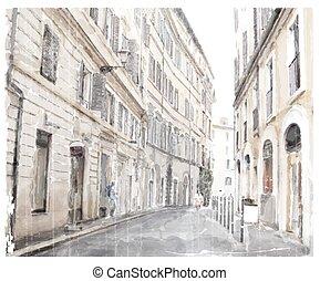 aquarela, ilustração, scape., cidade