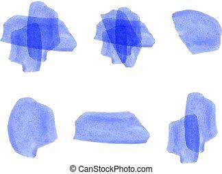 aquarela, jogo, vetorial, elements., blue.