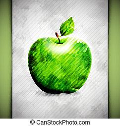 aquarela, maçã
