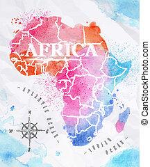 aquarela, mapa, cor-de-rosa, áfrica, azul