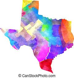 aquarela, mapa, estado, texas