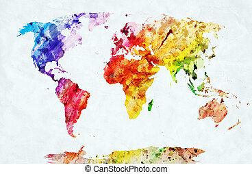 aquarela, mapa mundial