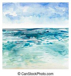 aquarela, mar, fundo