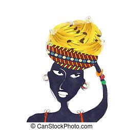aquarela, mulher, africano