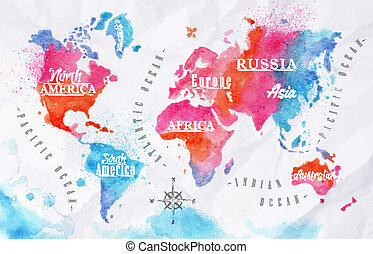 aquarela, mundo, cor-de-rosa, azul, mapa