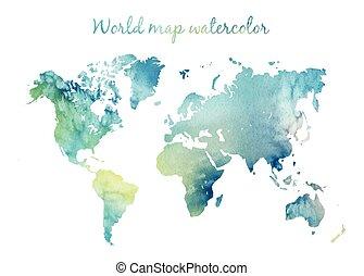 aquarela, mundo, vector., mapa