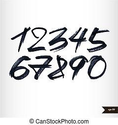 aquarela, números, calligraphic