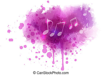 aquarela, notas, borrão, música