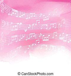 aquarela, notas, música, fundo