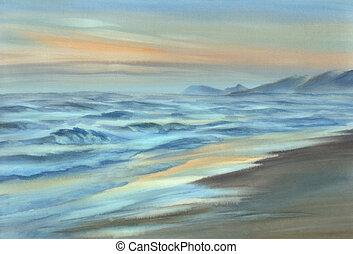 aquarela, noturna, litoral, vista