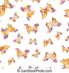aquarela, padrão, borboletas, seamless
