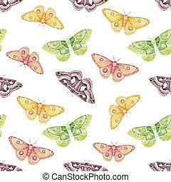 aquarela, padrão, borboletas