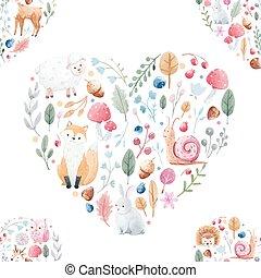 aquarela, padrão, flores, animais