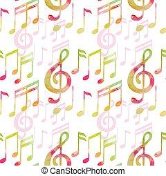 aquarela, padrão, notas, musical