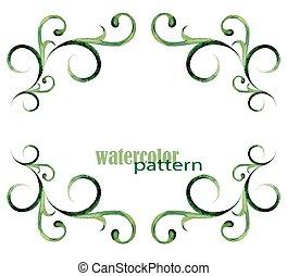 aquarela, padrão, quadro, -, verde